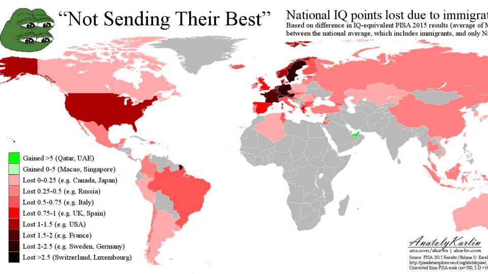 Not Sending Their Best World Map Of IQ Drop Due To Immigration - World map germany