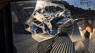 Drone smashes through 5th floor office window & into man's head