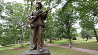 Silent Sam Statue Defaced with Red Ink and Blood from Protester
