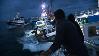 French and British Fishermen Stage 'Sea Battle' in Scallop War