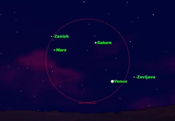 Three Bright Planets Visible in Night Sky Triangle