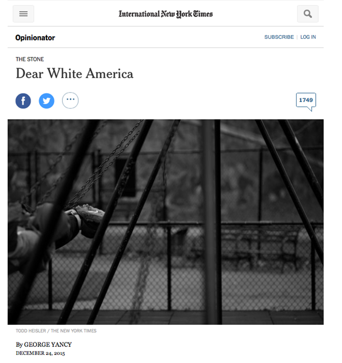 "the deep roots of racism in society in dear white america an article by goerge yancy 'we cannot realistically expect white america' the obama wrote america is a 'racist society' in an ""racism against african americans."